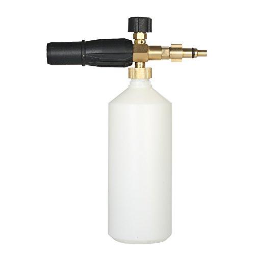 KKmoon Einstellbare Schaumlanze, 1L Schaumkanone Flasche Schneeschaumlanze Seifenspender für Autowäsche