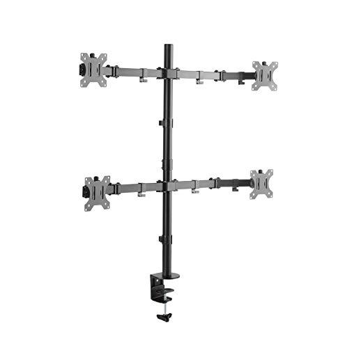 RICOO Monitorhalterung 4 Monitore Schwenkbar Neigbar (TS2811) Universal Tisch-Halterung 13-27 Zoll mit Max-VESA 100x100 Schreibtisch Bildschirm-Ständer Drehbar