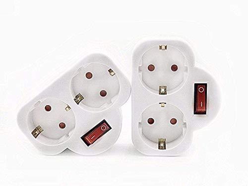 2 piezas adaptador de enchufe, doble enchufe, con interruptor, enchufe doble, para oficina, hogar, color blanco