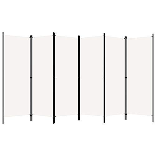 pedkit Biombo Divisor de 6 Paneles Biombo Separador Separador de Ambientes Biombos de Dormitorio Blanco 300 x 180 cm