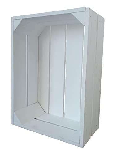 Caja de madera para fruta o vino, 38 x 28 x 15 cm, color blanco