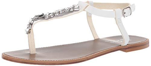 Badgley Mischka Women's Lucia Flat Sandal, White Leather, 11 M US