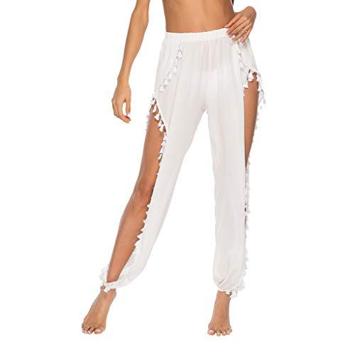 RISTHY Pantalones Profesionales de Yoga con Aberturas Laterales Flecos Sueltos Cintura Alta Mujer Pantalones de Playa Largos Deportivos Suaves y Cómodos para Vacaciones