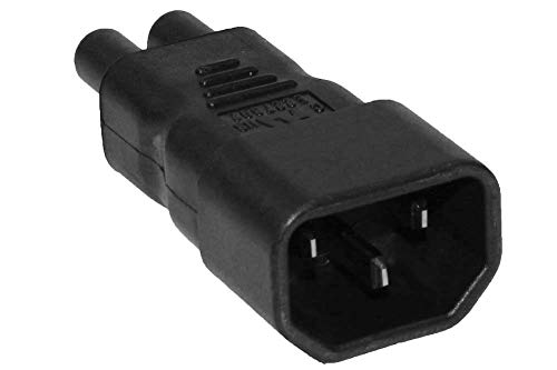 ACA1003 IEC C5 to NEMA 5-15 USA Three Prong Molded Plug Adapter with UL Approval Often Used for laptops