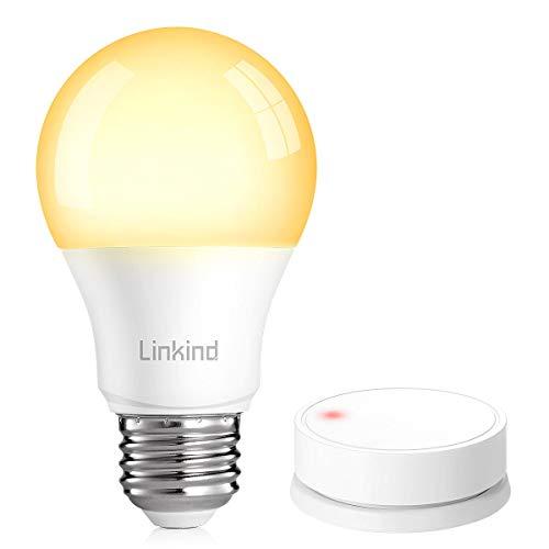 Linkind Smart Lamp & 1 botón Dimmschalter Set, Wireless Dimming sin instalación, Smart Lichtscheller y E27 Dimmbar 1% ~ 100% LED, blanco cálido, 2700 K