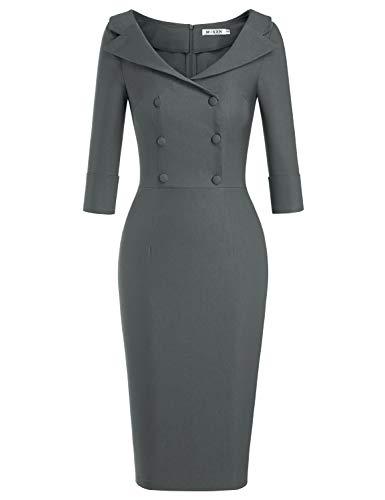 MUXXN Women's Pinup Ruched Sleeve Empire Waist Sexy Clubwear Bodycon Dress (Gray S)