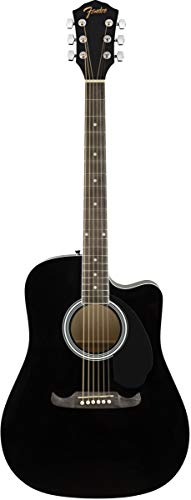 Fender FA-125CE Dreadnought Cutaway Acoustic-Electric Guitar - Black Bundle with Hard Case, Strap, Strings, Picks, Fender Play Online Lessons, and Austin Bazaar Instructional DVD