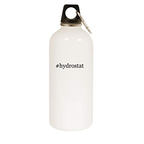 #hydrostat - 20oz Hashtag Stainless Steel White Water Bottle with Carabiner, White