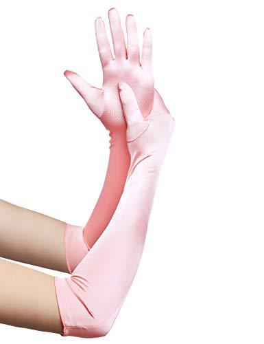 BABEYOND Lunghi Guanti Donna Eleganti Guanti Sposa di Raso fino a Gomito Guanti da Ballo Accessori Anni 20 (Liscio 52cm/Rosa)