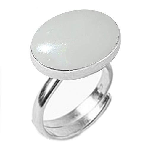 GemsOnClick Natural Opal Adjustable Rings Silver Plated Leb Certified Gemstone Rashi Ratan- Adjust Size H to P (UK)