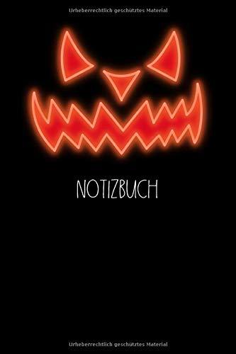 Notizbuch: Halloween, Maske, Halloweenmaske, gruselig, leuchten, Verkleidung I Notizbuch oder Notizheft liniert 6 x 9 Zoll (ca. DIN A5) I 120Seiten