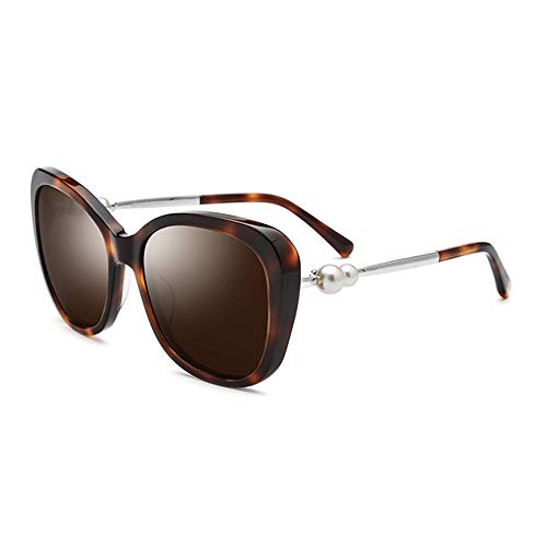 Faus Koco UV400 Marrón Gato Negro Placa De Ojo Gafas De Sol Damas Polarizadas Doble Perla Gafas De Sol Gafas Femeninas Espejo De Conducción (Color : Brown)