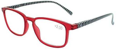 Gafas de lectura a rayas rojas +1,00