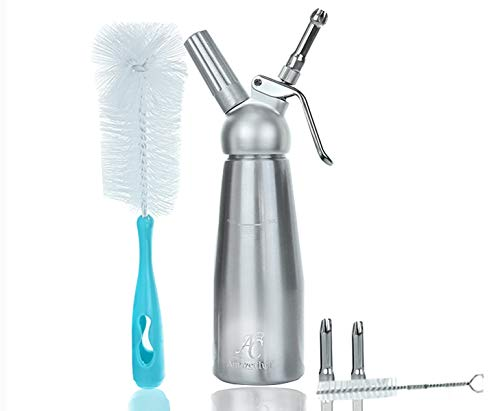 AmazeChef Whipped Cream Dispenser with 3 Stainless Steel Tips and Bonus Full Size Cleaning Brush-1 Pint Cream Whipper-Whip Cream Maker-Use with N2O cream chargers (not included)