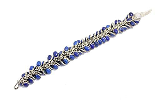 Pulsera de plata de ley 925 hecha a mano con piedra de lapislázuli azul natural