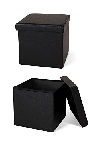 dibea Tabouret Pliable en Similicuir Cube pouf Coffre de Rangement pour Chien Noir 300 kg 40 L 38 x 38 x 38 cm