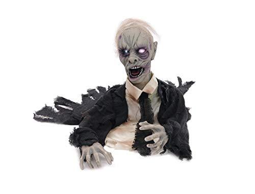EUROPALMS Halloween Zombie, animiert 43cm | Zombiefigur zum Aufstellen mit Licht- und Soundeffekt