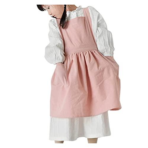 JYDZSW Delantales Niños Delantal de algodón Puro Delantal Color Puro Horneado Gadget Cafés Casual Bar Cocinar Niños Niños Limpieza Delantales (Color : Pink M)