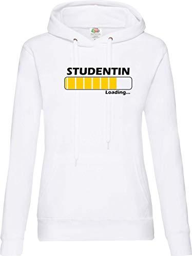 Shirtinstyle Femme à Capuche Chargement Etudiante, Profession - Blanc, XL