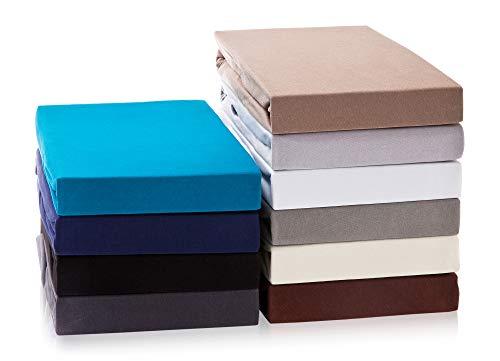 Exclusive Boxspringbett Spannbettlaken | Spannbetttuch Wasser- und Boxspringbetten | 160 g/m² | ÖKO-TEX Standard |(180 - 200 x 200 - 220 cm | Steghöhe bis zu 40 cm, Nougatbraun)