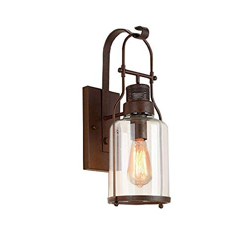 HYYK Vintage Wall Sconce Industrial Glass Sconces Country Style Loft Lantern Wall Light Fixture Lights with Cylinder Glass Shade in Antique Rust Finish use E27 Bulb