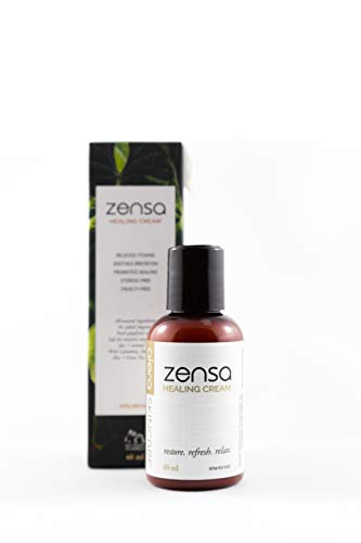 Zensa Healing Cream | Natural Topical Lotion and Moisturizer for Eczema, Psoriasis and Dry Skin | Tattoo, Microblading and Waxing Aftercare | 2 Ounce