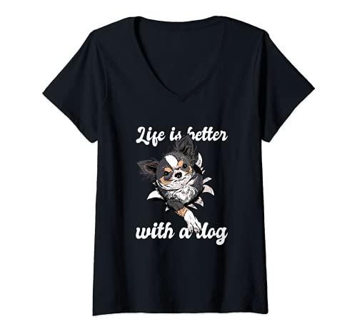 Femme Vêtements pour propriétaires de chiens de race Chihuahua T-Shirt avec Col en V