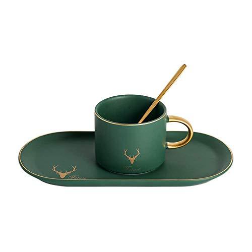 Primst Matte Keramik Teetasse Untertasse Box Set Mit Löffel Klassische Kaffeetasse Für Restaurant Und Familie Golden Trim (Malachite Green)