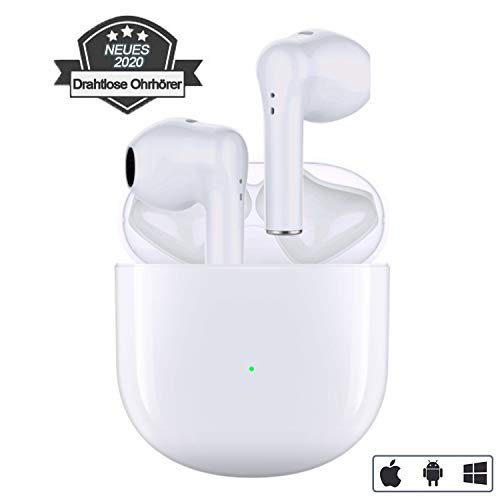 Bluetooth 5.0 Ohrhörer Drahtlose Kopfhörer Smart Noise Cancelling 3D-Stereo Eingebauter Mikrofon-In-Ear-Kopfhörer mit 24-Stunden-Ladekoffer IPX5 wasserdichte Sportkopfhörer für iPhone/Android/Samsung