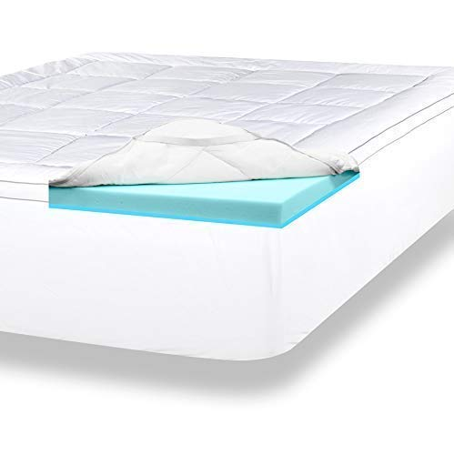 ViscoSoft 4 Inch Pillow Top Memory Foam Mattress Topper Queen | Serene Lux Dual Layer Mattress Pad