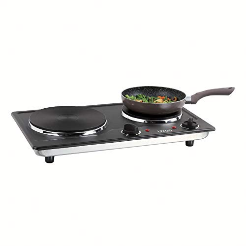 Plaque de cuisson double - Pour le camping - 5 niveaux - Plaques de cuisson électriques - 2500 W - 2 thermostats - Noire