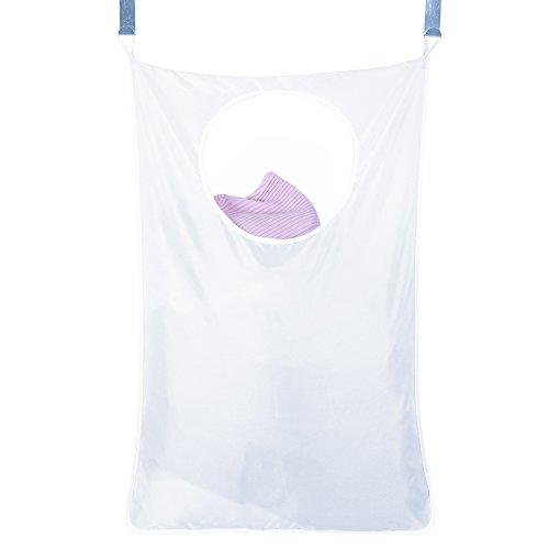 LianLe hängender Wäschesammler, Wäschekorb zum Aufhängen, platzsparender Wäschesack mit je 2 Türhaken + 2 Saughaken, Ordnung schaffen mit minimalem Platzbedarf