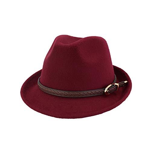 Nvshiyk Sombrero de Jazz Sombrero de Sol Hombre de Lana de Jazz de Hombre Sombrero Pareja Caballero Sombrero Adulto Masculino para los Hombres (Color : Wine Red, Size : 55-58cm)