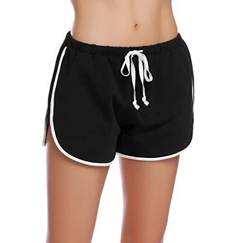 Abollria Shorts Damen Schlafanzughose Kurz Schlafhose Kurze Sporthose Baumwolle Pyjamahose Kurz Hosen Yoga Running Gym Beiläufige Elastische