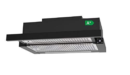 Allcata TFH 6630 A+ Einbau-Teleskop-Haube Dunstabzugshaube 60 cmTouch Control 6 Leistungsstufen LED-Bildschirm & LED-Beleuchtung/bis 1000 m³/h sparsam 90W (schwarz Umluft (mit Aktivkohlefilter))