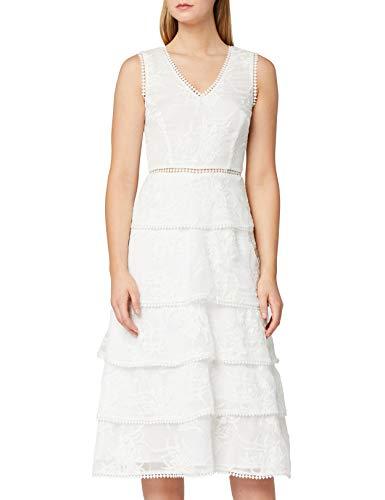 Amazon-Marke: TRUTH & FABLE Damen Kleid mit Stickereien und Volants, Elfenbein (Ivory), 34, Label:XS