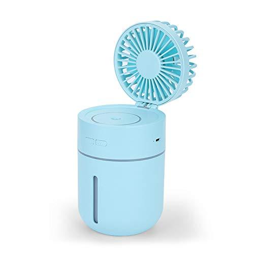 QHGao Mini-luchtbevochtiger met ventilator, draagbaar, luchtreiniger, luchtbevochtiger, capaciteit 400 ml, oplaadbare USB-accu met 7 kleuren nachtlampje
