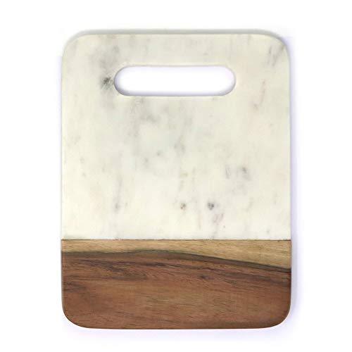 Plato antipasti de mármol y tabla de servir con madera de acacia – Tabla de queso grabada con letra A por Ezo.Home