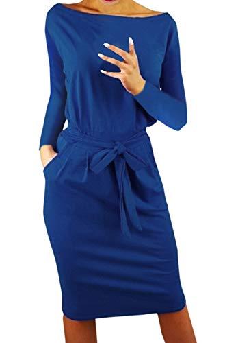 Ajpguot Ajpguot Damen Freizeit Kleid mit Gürtel Elegant Rundhals Midi Kleider Blusenkleider Ballkleid Festkleid Frauen Langarm Tasche Wickelkleider Abendkleider Partykleid