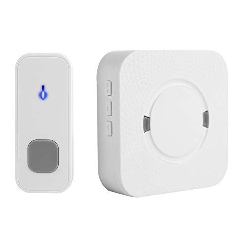 Bewinner draadloze deurbel, deurbel voor thuis, 55 beltonen IP55 Waterdichte zender met 200 m externe transmissie / 5 volumeniveaus/eenvoudige bevestiging/dempen
