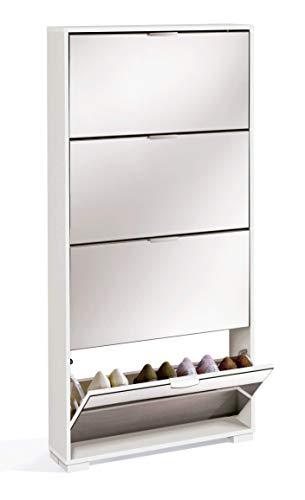 Muebles Pitarch Ábaco Zapatero, Aglomerado de partículas y melanina de Alta Densidad, Blanco Alto Brillo, 153 x 74 x 17 cm
