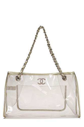 CHANEL Clear Vinyl & Metallic Leather Tote Medium (Renewed)
