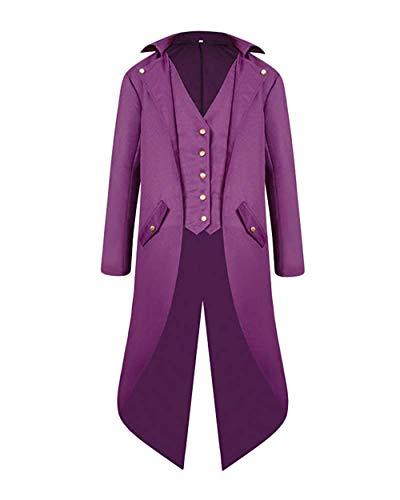 VERNASSA Giacca da Uomo Cappotti,Lunga Gotico Steampunk Tuxedo Vintage Cappotto Tailcoat Cappotto Uniforme Costume Outwear Praty Cappotto per Vittoriano Halloween Cosplay Carnival