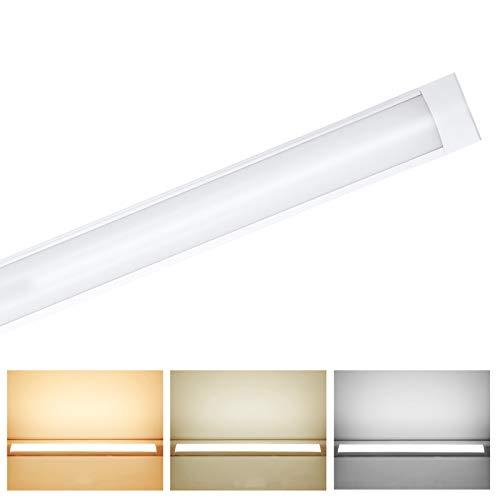 Luminaria Pantalla Lampara Led 120cm 54W,3 Colores Regulables Tubo Fluorescente 130°Haz De Gran Angular Luminaria Lámpara De Techo Para Armarios, Cocina, Oficina, Balcón, Cuarto (Tubo de arco)