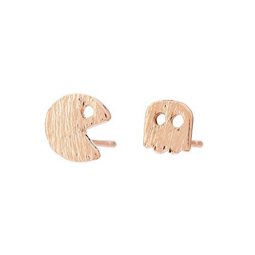Pendientes de Botón Selia Diseño Pacman/Aretes Origami (Pacman Play) con Aspecto de Cepillado/Tendencia Minimalista