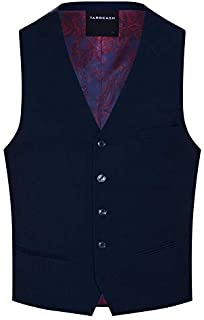 Tarocash Men's Louis Stretch Waistcoat Polyester Blend Regular Fit Sizes XS-5XL for Going Out Smart Occasionwear Formalwear Vests