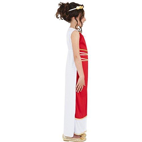 Amakando Disfraz infantil de la diosa griega, talla M, 7-9 aos, 128-140 cm, disfraz de romero, disfraz para nia, disfraz antiguo, disfraz de carnaval, vestido con tocado Sparta