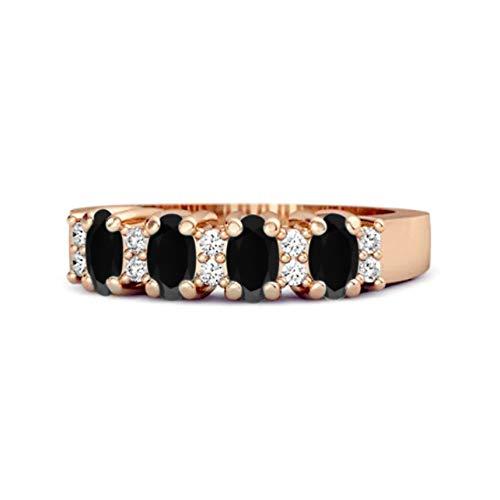 Shine Jewel Multi Elija su Piedra Preciosa Oval Genuino 1.00 CTS Anillo de Cuatro Piedras 925 de Plata esterlina Chapado en Oro Rosa (10, espinela Negra)