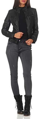 Malito Mujer Chaqueta Cuero Sintético Biker Chaqueta Saco Blazer 5179 (Negro, L)