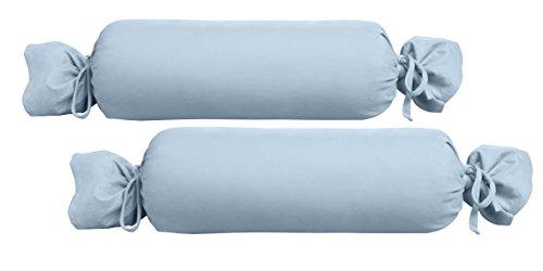 Biberna 0077144Jersey de para cojín cilíndrico de algodón 100%, 2Unidades, 15x 40cm Azul, 27x 18x 2cm